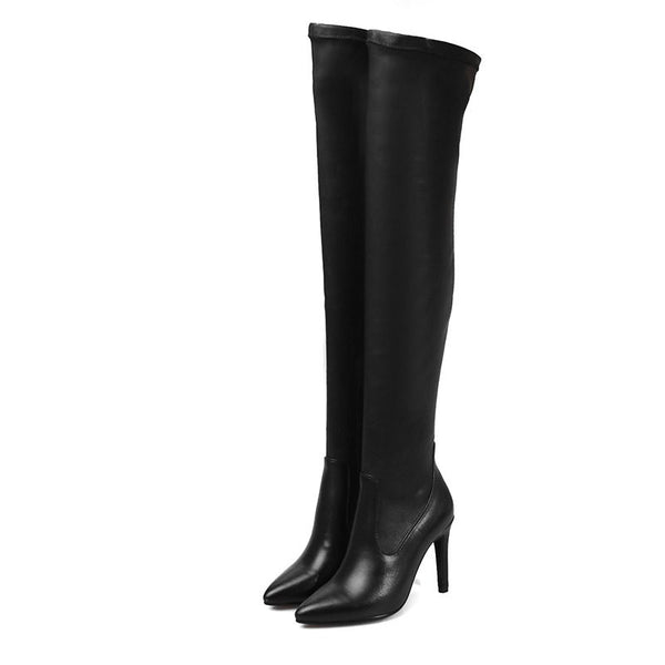 EURO size 33-43 high heel boots genuine leather +PU women over the knee boots sexy pointed toe Resilient thigh high boots botas - Hespirides Gifts - 2