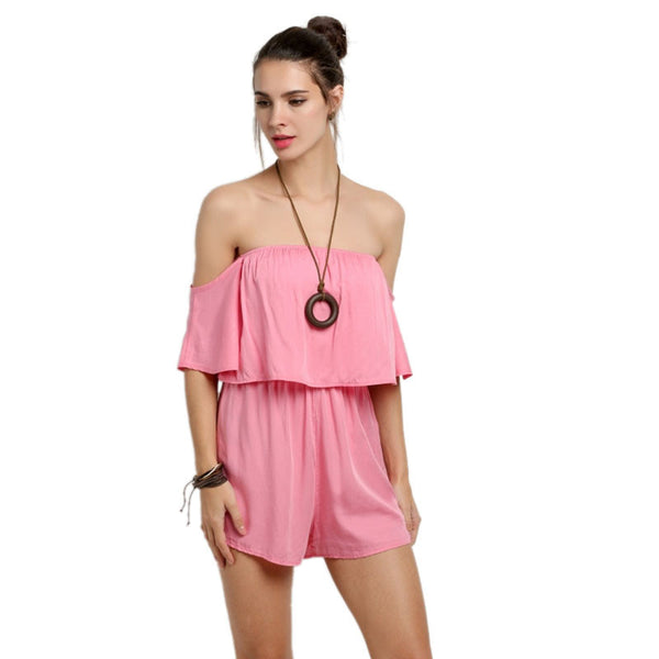 Sexy Women Jumpsuit Summer Beach Rompers Strapless Backless Playsuits Pink Solid Color Slim Shorts - Hespirides Gifts - 2