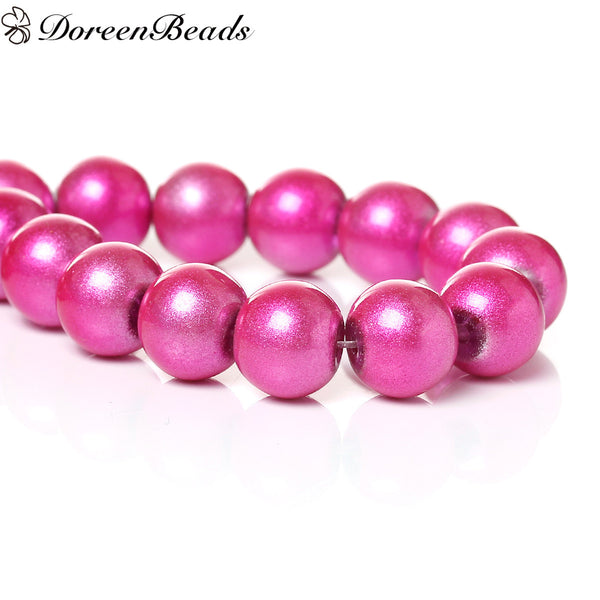 "Glass Loose Beads Round Fuchsia About 10mm Dia,Hole about:1.7mm,77.5cm(30 4/8"")long,1 Strand(About 82 PCs/Strand) new - Hespirides Gifts"