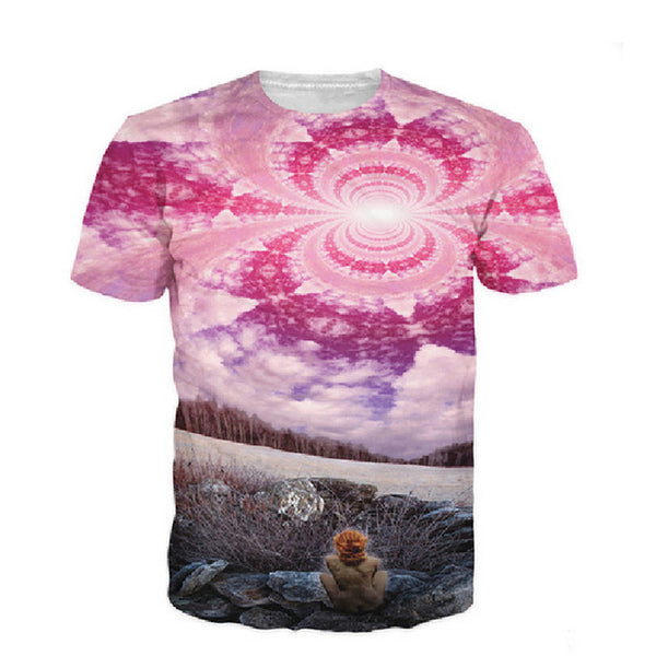 New 3D Top Trippy Universe T-shirt Psychedelic Pink Cloud T Shirt Harajuku Galaxy Space Tees Fashion 3d Clothes Dropship - Hespirides Gifts