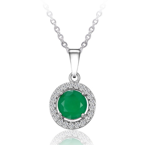 Vintage Quality Wedding Bridal 18K Silver Plated round Crystal Design green mix crystal Pendant fashion Necklace Jewelry - Hespirides Gifts - 8