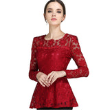 M-5XL Fashion Casual long sleeve lace shirt Elegant Slim hollow women tops Plus size women lace tops patchwork blouse shirt - Hespirides Gifts - 1