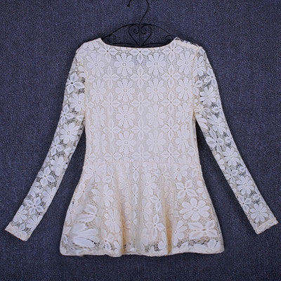 M-5XL Fashion Casual long sleeve lace shirt Elegant Slim hollow women tops Plus size women lace tops patchwork blouse shirt - Hespirides Gifts - 2
