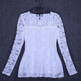 M-5XL Fashion Casual long sleeve lace shirt Elegant Slim hollow women tops Plus size women lace tops patchwork blouse shirt - Hespirides Gifts - 4