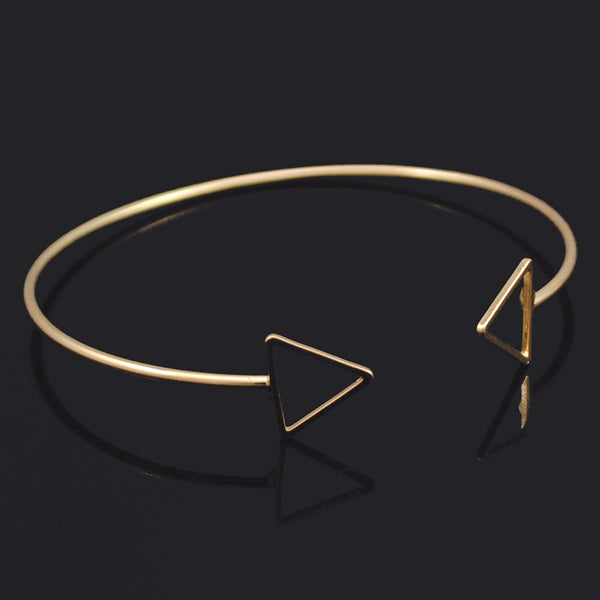 New Fashion Adjustable Triangle Bangle Gold / Silver Arrow Bracelet For Women Cuff Jewelry Simple Best Gift BB1353 - Hespirides Gifts - 2
