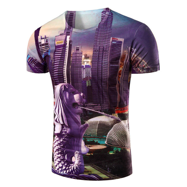 Egypt Style Lions City O Neck Brand Men's Clothing 3D T shirt Women Men Short Sleeve T-shirt Men Tops Tee Clothes High Quality - Hespirides Gifts - 2