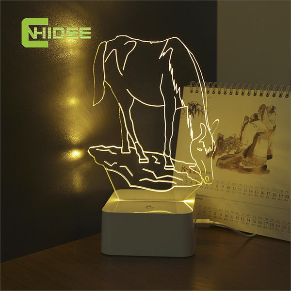 CNHIDEE USB Novelty Touch Charming Horse Lamp 3D Dimmable Night Light as Creative Festival Gifts Home Decor Desk Lamp for Friend - Hespirides Gifts