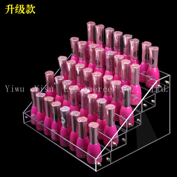 Hot 4 Tiers Removable Nail Polish Shelf Acrylic Clear Cosmetic Trapezoid Display Stand Rack Holder Women Makeup Tool - Hespirides Gifts