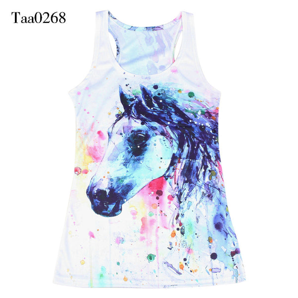Summer Female Pink Horse Anime Vest Psychedelic Women Shirts Fitness Sleeveless Tees Animal Vests - Hespirides Gifts - 2
