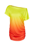 One Shoulder Tie Dye Colorful Ruched Women T Shirt Girl Summer fahsion Casual Tshirt Women Tee 2016 New Arrival - Hespirides Gifts - 4