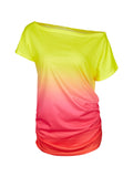 One Shoulder Tie Dye Colorful Ruched Women T Shirt Girl Summer fahsion Casual Tshirt Women Tee 2016 New Arrival - Hespirides Gifts - 3