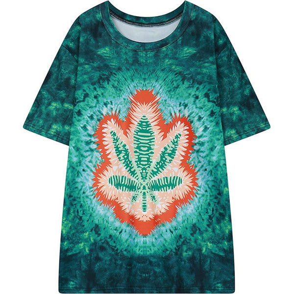 women tie dye print t-shirt summer new short sleeve HARAJUKU tie-dye tee top woman ladies street style tshirt green T Shirt - Hespirides Gifts - 2
