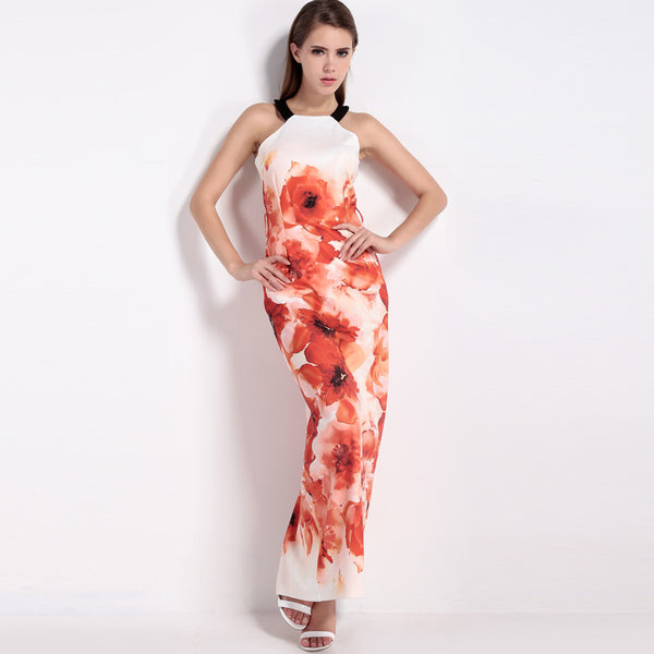 Red Flower Printed Sleeveless Tie Dye Ankle Length Long Dress Women New Style Women Summer Maxi Dresses Formal Party Dress - Hespirides Gifts