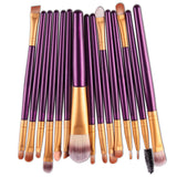 New Functional Makeup Brush Gold Soft Bristles High Quality 15 Pcs Set New Sale - Hespirides Gifts - 1