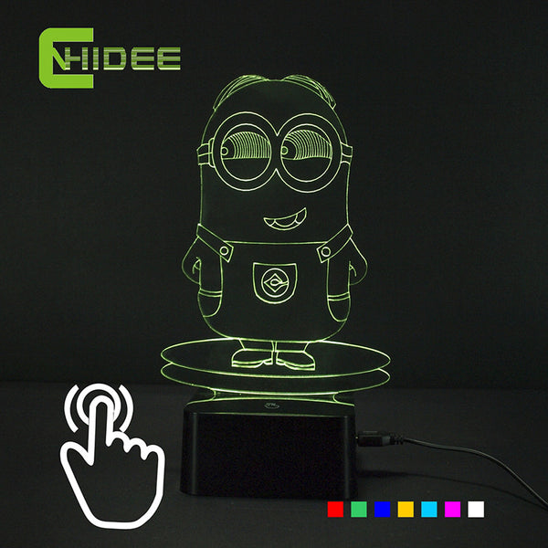 Creative Gift for Children Minion Carton USB RGB Lamp Touch Dimmable 3D Night Light as Bedroom Seven Color Changing Lampka Nocna - Hespirides Gifts