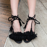 Fashion Women Sandals New Design Ankle-Wrap Tassel Med Square Heels High Quality Womens Summer sandal Shoes 4colors - Hespirides Gifts - 3