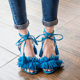 Fashion Women Sandals New Design Ankle-Wrap Tassel Med Square Heels High Quality Womens Summer sandal Shoes 4colors - Hespirides Gifts - 2
