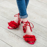 Fashion Women Sandals New Design Ankle-Wrap Tassel Med Square Heels High Quality Womens Summer sandal Shoes 4colors - Hespirides Gifts - 4