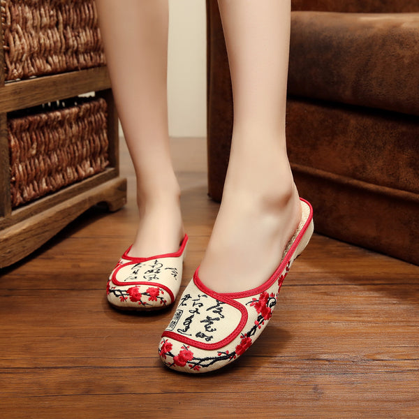 New Arrive Embroidery slippers embroidered Chinese characters word Women soft cloth canvas leisure sandals plus size 41 - Hespirides Gifts - 2