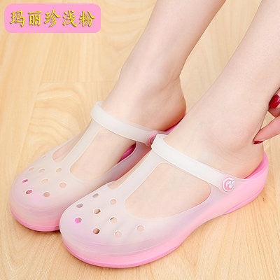 Summer Candy color print hole slipper women sandals women's beach home jelly sandals sweet flat shoes casual flats for ladies - Hespirides Gifts - 5