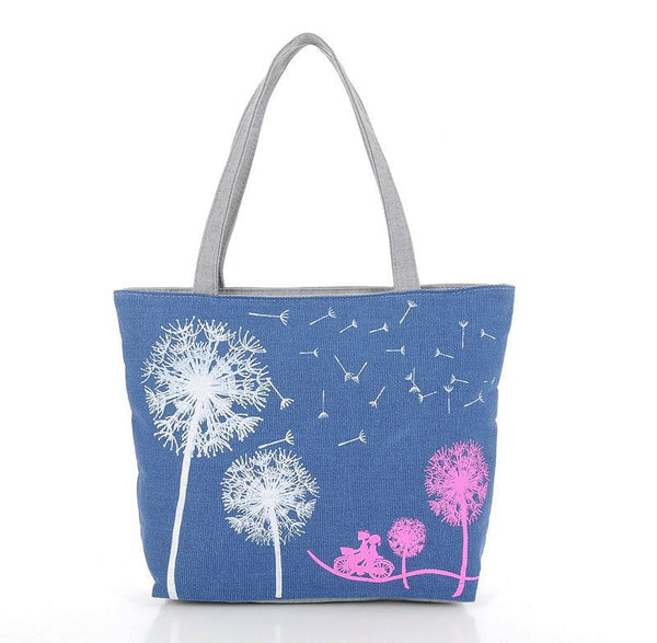 Canvas Women Casual Tote Designer Lady Large Bag Fashion dandelion Handbags Bolsas shopping bag New Women's Shoulder Bags M7-353 - Hespirides Gifts - 2