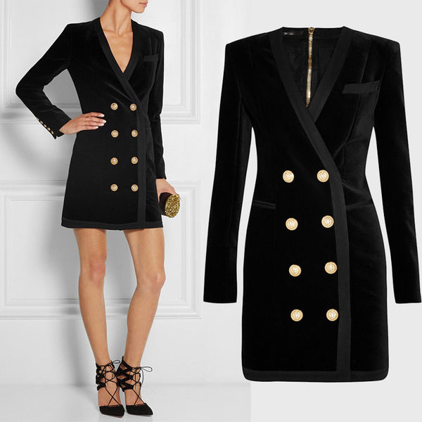 HIGH QUALITY New Fashion Women's Long Sleeve V-neck Double Breasted Gold Buttons Velvet Sheath Bodycon Dress - Hespirides Gifts