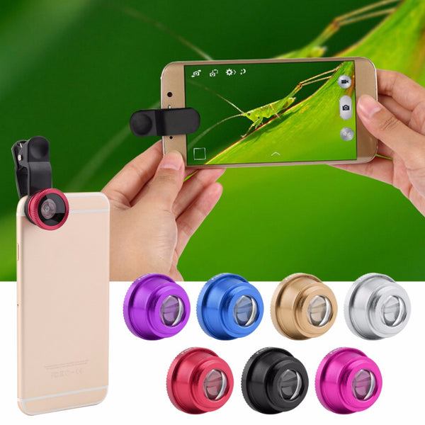 Newest golden 3 In 1 Clip Camera Lens Fish Eye Wide Angle Macro Kit For Smart Phone - Hespirides Gifts