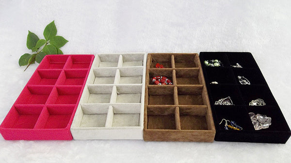 Jewelry Display Velvet Tray 8 Grids Ring Bracelet Earring Box Jewelry Case Jewelry Storage Organizer - Hespirides Gifts
