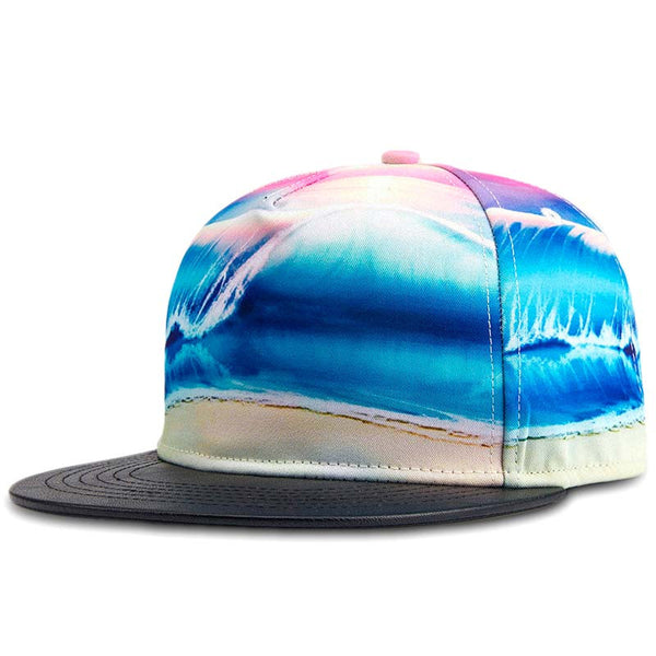 New Fashion 3D Thermal Printing PU Leather Patchwork High Quality Men Women Sports Hat Hats Baseball Cap Hip Hop Snapback Caps - Hespirides Gifts - 2
