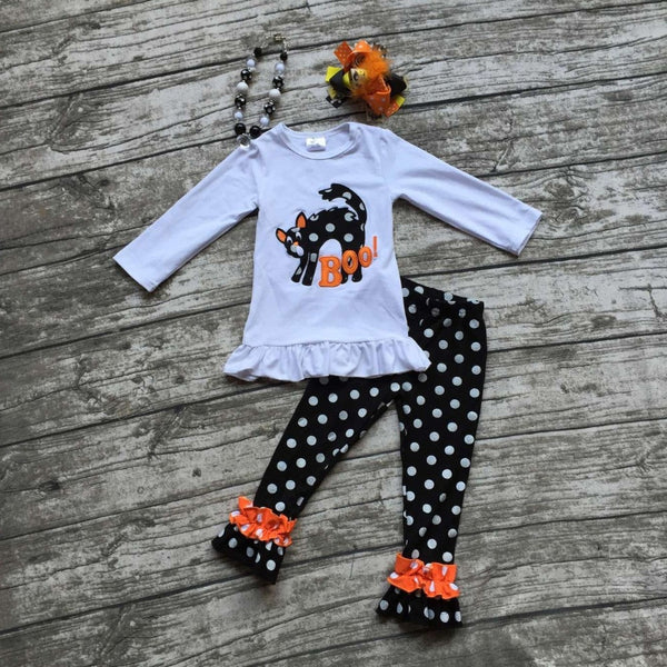 Halloween FALL/Winter baby kids OUTFITS dot BOO top cat pant sets girls long sleeve boutique clothes matching bow and necklace - Hespirides Gifts