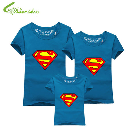 Family Matching Clothes Parent Kid Look Superman T Shirts Summer Father Mother Kids Cartoon Outfits New Cotton Tees Drop - Hespirides Gifts - 1