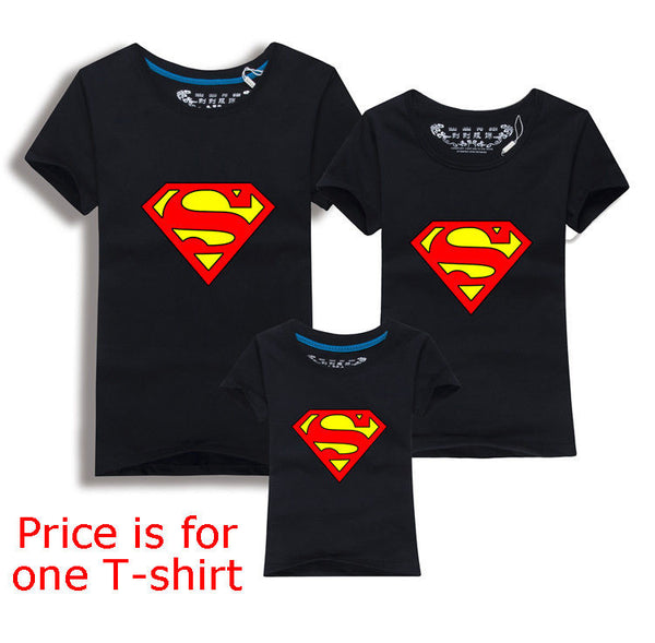 Family Matching Clothes Parent Kid Look Superman T Shirts Summer Father Mother Kids Cartoon Outfits New Cotton Tees Drop - Hespirides Gifts - 2