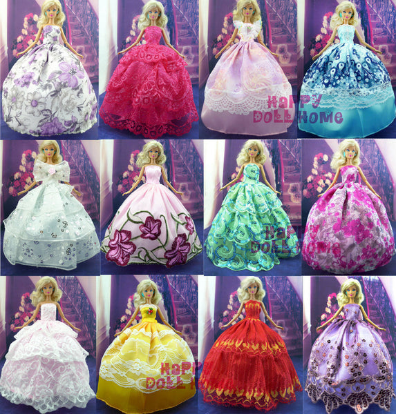 Random Pick 15 Items = 5 Wedding Dress Princess Gown + 5 Pairs Shoes + 5 Pink Hangers Clothes For Barbie Doll Gift Baby Toy - Hespirides Gifts