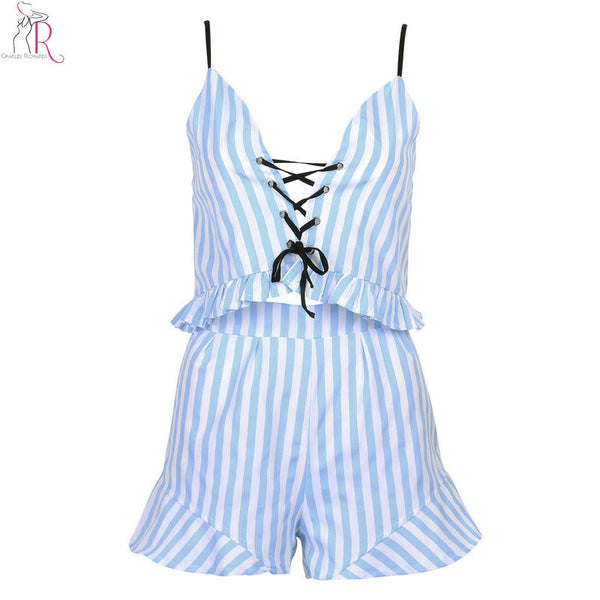 Blue Two Pieces Co-ords V-neck Striped Lace Up Ruffled Crop Top Camis Vest Shorts Beachwear Summer Women Clothing Sets - Hespirides Gifts - 2