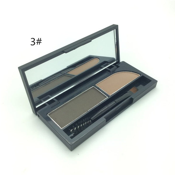 Top Selling Professional Eye Brow Makeup 2 Color Eye Shadow Eyebrow Powder Palette WIth Oblique Head + Spiral Brush Make Up - Hespirides Gifts - 3