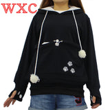 Cat Lovers Hoodies With Cat Cuddle Pouch Mewgaroo Nyangaroo Dog Pet Hoodies For Casual Kangaroo Hoodies With Ears Sweatshirt 3XL - Hespirides Gifts - 3