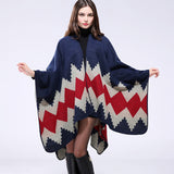New Thicken Winter Poncho Women Red Rhombus Striped Warm Ponchos and Capes Z-3152 - Hespirides Gifts - 7