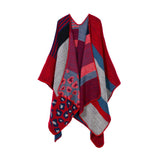 New Thicken Winter Poncho Women Red Rhombus Striped Warm Ponchos and Capes Z-3152 - Hespirides Gifts - 8