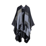 New Thicken Winter Poncho Women Red Rhombus Striped Warm Ponchos and Capes Z-3152 - Hespirides Gifts - 5