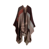 New Thicken Winter Poncho Women Red Rhombus Striped Warm Ponchos and Capes Z-3152 - Hespirides Gifts - 2