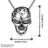 fashion Jewelry chain 316L stainless steel vintage Hot rock style Mayan skull pendant necklace for men - Hespirides Gifts - 2