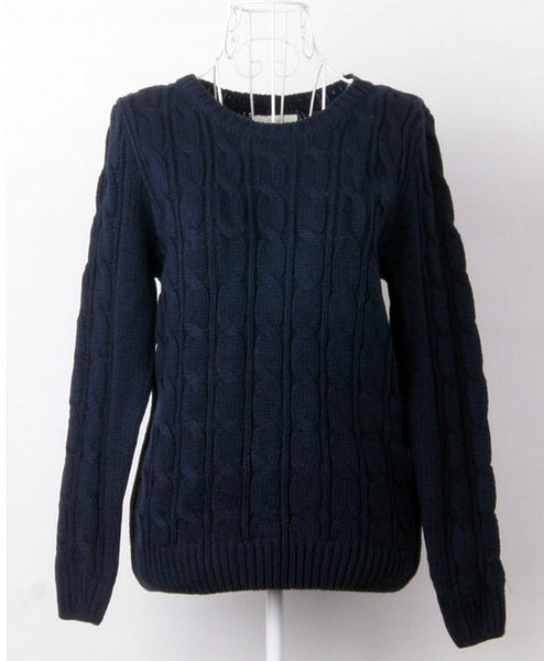 Warm Sweaters Women Fashion Casual Knitted Pullover O-Neck Long Sleeve Solid Navy Blue / White Slim OL Lady Brand Sweater - Hespirides Gifts - 3