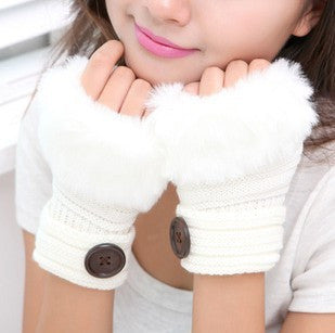 Korean Winter Short Section Mitts Cute Buttons Half-Finger Gloves Nine Colors For Choose - Hespirides Gifts - 9