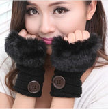 Korean Winter Short Section Mitts Cute Buttons Half-Finger Gloves Nine Colors For Choose - Hespirides Gifts - 2
