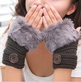 Korean Winter Short Section Mitts Cute Buttons Half-Finger Gloves Nine Colors For Choose - Hespirides Gifts - 6