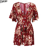 Women Multicolor Floral Print Plunge V Neck Kimono Sleeve Sexy Romper Playsuit New Summer Zip Back Tie Waist Slim Jumpsuit - Hespirides Gifts - 2