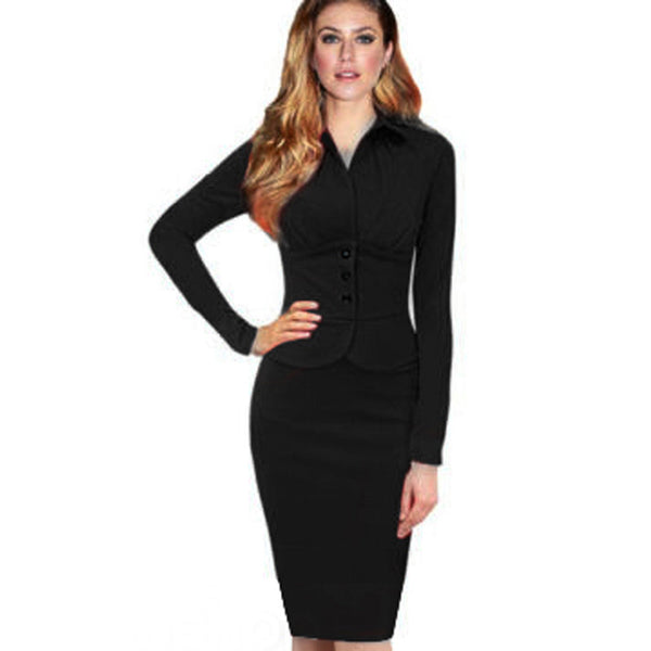 New Fashion Women Formal Turn-Down Collar Long Sleeve Vintage Wear to Work Bodycon Stretch Pencil Dresses Autumn Winter G749 - Hespirides Gifts - 2
