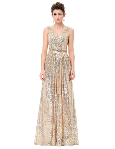 Luxury Gold Silver Long Sequin Evening Dress Pink Double V Neck Cheap Evening Gowns Sleeveless Prom Party Formal Dresses 0199 - Hespirides Gifts - 4