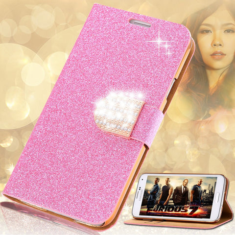 S5 Cases Fashion Women Girl Bling Diamond Glitter PU Leather Flip Phone Case For Samsung Galaxy S5 i9600 SV Stand Wallet Cover - Hespirides Gifts - 1