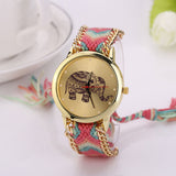 Handmade Elephant Bracelet Dial Fashion Hot Wrist watches Women Weave Multilayers Rivet Bracelet Wristwatches - Hespirides Gifts - 7